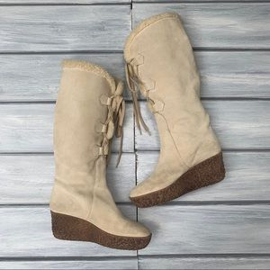 Michael Kors Suede & Shearling Lace Front Boots